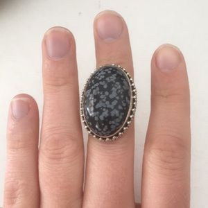 Large black and grey cocktail ring